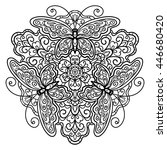 vector  contour  mandala ... | Shutterstock .eps vector #446680420