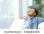 portrait of a casual tired man... | Shutterstock . vector #446681404