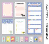 cute calendar daily and weekly... | Shutterstock .eps vector #446683990