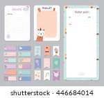 cute calendar daily and weekly... | Shutterstock .eps vector #446684014