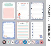 cute calendar daily and weekly... | Shutterstock .eps vector #446684020