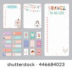 cute calendar daily and weekly...   Shutterstock .eps vector #446684023