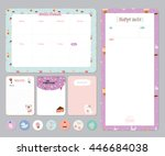 cute calendar daily and weekly... | Shutterstock .eps vector #446684038