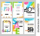 set of social media sale... | Shutterstock .eps vector #446686903