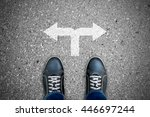 black casual shoes standing at... | Shutterstock . vector #446697244