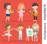 creative kids playing musical... | Shutterstock .eps vector #446698678