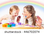 mom and baby draws with colored ...   Shutterstock . vector #446702074