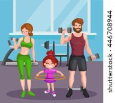 sport family vector set.fitness ... | Shutterstock .eps vector #446708944