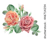 floral card with flowers. rose. ... | Shutterstock . vector #446714254