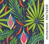seamless jungle leaf pattern on ... | Shutterstock . vector #446716348