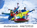 happy people on a tube outdoors | Shutterstock . vector #446719510