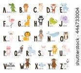 alphabet set with cute cartoon... | Shutterstock .eps vector #446733004