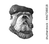 pencil drawing of a bulldog in... | Shutterstock . vector #446738818