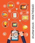hand with magnifier. website... | Shutterstock .eps vector #446740660