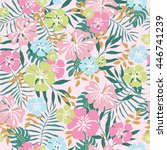 hawaiian seamless pattern with... | Shutterstock .eps vector #446741239