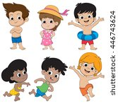 set of children feeling happy...   Shutterstock .eps vector #446743624