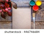 cans gouache with brush on a... | Shutterstock . vector #446746684