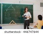 teacher answering pupils... | Shutterstock . vector #446747644