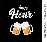 happy hour hand written... | Shutterstock .eps vector #446754214