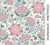 seamless floral pattern. vector ... | Shutterstock .eps vector #446754313
