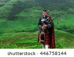 scottish highlands   piper in... | Shutterstock . vector #446758144