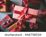 many colorful gift boxes with... | Shutterstock . vector #446758534