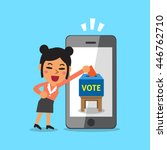 businesswoman putting voting...   Shutterstock .eps vector #446762710