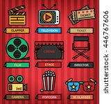icons of cinema and media... | Shutterstock .eps vector #446767606