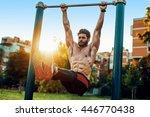 fitness man doing stomach... | Shutterstock . vector #446770438