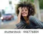 young black woman with afro...   Shutterstock . vector #446776804