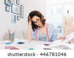 a pretty brunette girl is... | Shutterstock . vector #446781046