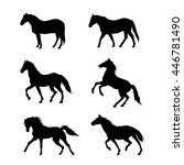 running horse. set of black... | Shutterstock .eps vector #446781490