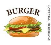 burger isolated on white...   Shutterstock .eps vector #446782144