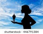 silhouette feminist holding a...   Shutterstock . vector #446791384