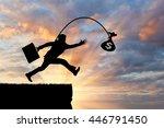 silhouette of a greedy man...   Shutterstock . vector #446791450