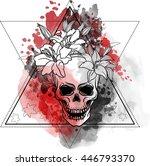 trash skull with blood splatter ...