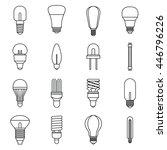 light bulb icons set in outline ... | Shutterstock . vector #446796226
