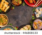 chinese food dark background.... | Shutterstock . vector #446808133