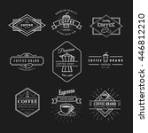 set coffee logo vintage label... | Shutterstock .eps vector #446812210