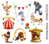 circus  funny animals  set of... | Shutterstock .eps vector #446815210