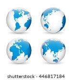earth globe revolved in four... | Shutterstock .eps vector #446817184