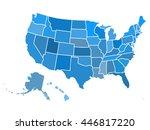 blank outline map of usa | Shutterstock .eps vector #446817220