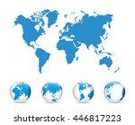 world map and globe detail... | Shutterstock .eps vector #446817223