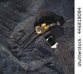 coal mining on open pit | Shutterstock . vector #446818084