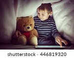 cute little kid with his friend ... | Shutterstock . vector #446819320