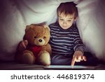 cute little kid with his friend ... | Shutterstock . vector #446819374