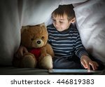 cute little kid with his friend ... | Shutterstock . vector #446819383