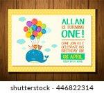 happy birthday set with big... | Shutterstock .eps vector #446822314
