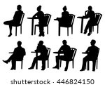 sitting people silhouettes | Shutterstock .eps vector #446824150