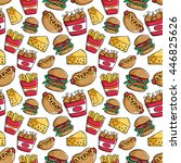 seamless pattern of junk food... | Shutterstock .eps vector #446825626